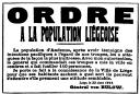 Ordre a la population Liégeoise, aout 1914