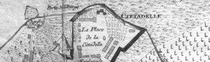 Liège, chapelle Ste-Balbine, carte du XVIII, Citadelle