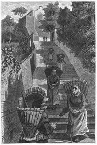 Liège, botteresses sur escalier
