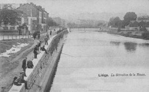 Liège, dérivation de la Meuse et pecheurs