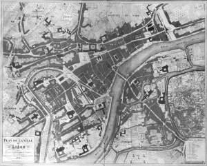 Liège, carte de la ville en  1828