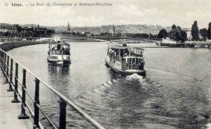 Liège, pont du commerce,  bateaux-mouches