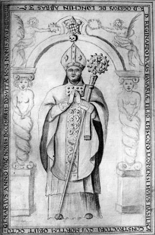 Liège,  le prince-Evêque Réginard (ill. du XVIIIè)